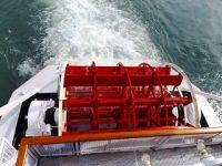 ミシガンはスクリューではなくこのローターで推進します。琵琶湖の底に影響が出ないように湖面だけで推進します。